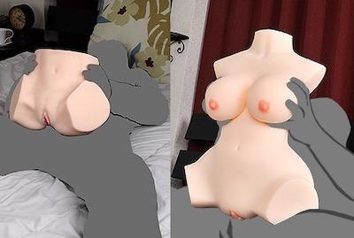 女性の腰回りだけのものと、オッパイを含めた上半身タイプの2穴オナホールの比較画像